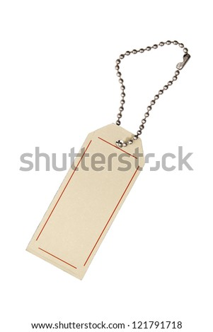 An isolated tag on white background.
