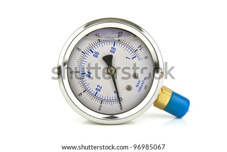 an isolated turbo pressure gauge on white - stock photo