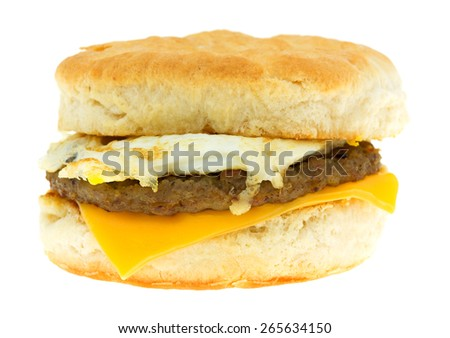 An isolated view of a breakfast sandwich on a white background. - stock photo