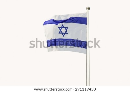 An Israel flag flapping in the wind isolated on white background. The flag is in white and blue colors with the star of David. The flag is posted on a pole high in the sky. - stock photo
