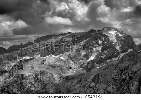 An italian landscape from Dolomites mountains: the 3,35 tall mount Marmolada