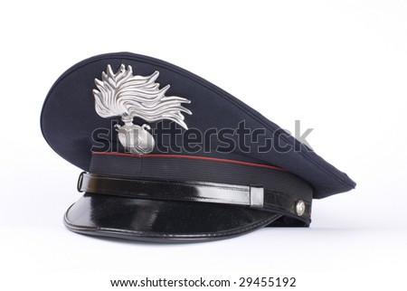 an Italian police hat, against a white background