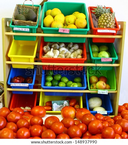 An large assortment of fresh home grown local garden fruits and vegetables
