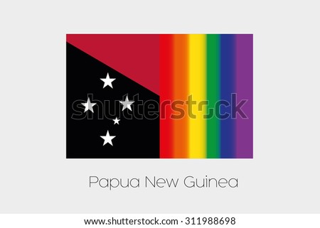An LGBT Flag Illustration with the flag of Papua New Guinea