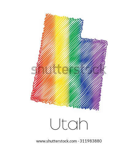 An LGBT Scribbled shape of the State of Utah - stock photo