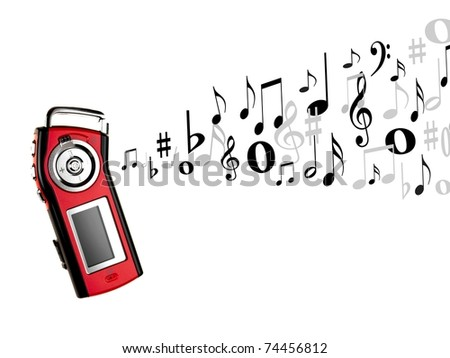 An MP3 player isolated against a white background - stock photo