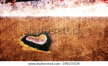 An oasis heart in the desert for canvas background - stock photo