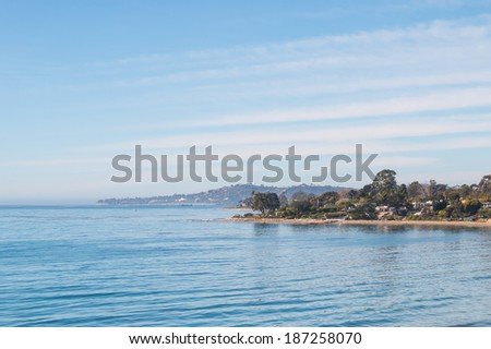 An ocean scenic along the coast of Santa Barbara, California on a calm, sunny day. - stock photo