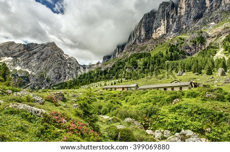 An Off the Beaten Path Malga Nestled in the Supremely Pristine Dolomite Mountains of Northern Italy - stock photo