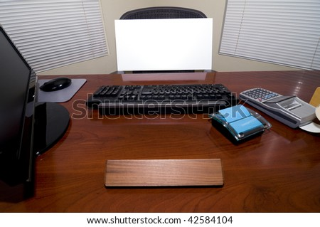 An Office Desk with a Blank Sign Board in the Chair.  Add Your Text to Express Numerous Business and Employment Issues!