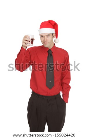 An office worker offers a toast to the camera while wearing a santa hat for an office Christmas party. Isolated on white. - stock photo