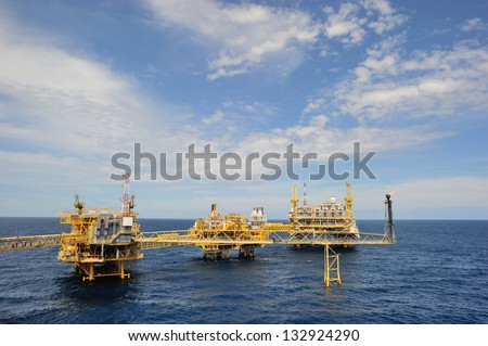 An offshore production platform in a Gulf of Thailand - stock photo