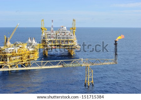 An oil and gas offshore platform in the Gulf of Thailand - stock photo