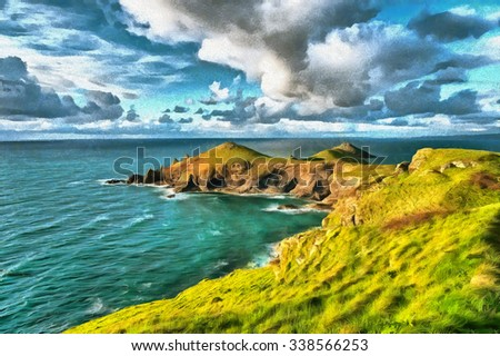 An oil painting of the Rumps headland on the Cornish coast