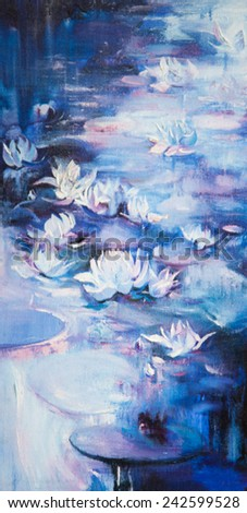 An oil painting on a water lily in a pond with colorful leafs and bright blossom. - stock photo