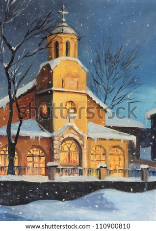 An oil painting on canvas of a Christmas night magical scene high up in the mountains. Rural peaceful landscape with a small church enlighten by the Christmas lights and snowflakes dancing in the sky. - stock photo