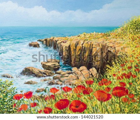 An oil painting on canvas of a coastal summer seascape with a breeze blowing from the sea and vivid red poppies blooming on the cliffs high above the bay with waves rushing toward the shore. - stock photo