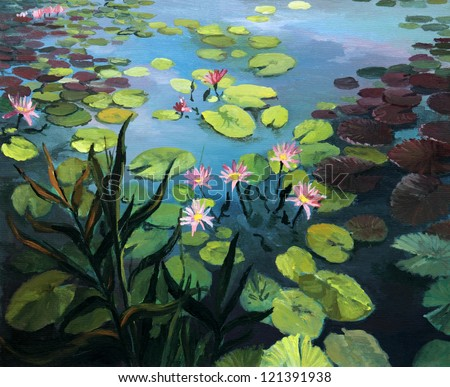 An oil painting on canvas of a colorful pond with beautiful lotus flowers and the sky reflection on the water surface. - stock photo