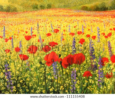 An oil painting on canvas of a colorful rural landscape with a field full of red poppies, yellow rapeseed and blue delphiniums. A sea of blossom in the spring time.