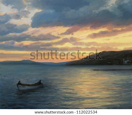 An oil painting on canvas of a colorful sunset by the seaside with a small fishing boat returning in the harbor after a whole day of fishing. - stock photo