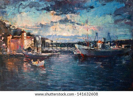 An oil painting on canvas of a colorful sunset over the port with ships entering and leaving the harbor.