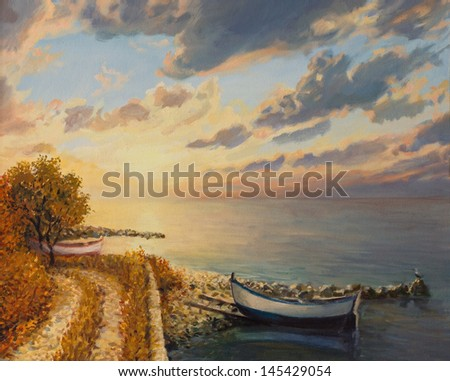 An oil painting on canvas of a romantic colorful sunrise by the sea with a boat floating on a tranquil water surface.