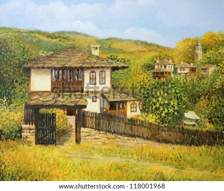 An oil painting on canvas of a rural colorful autumn landscape in village Bojenci in the Balkan mountains with an old house and mountain slopes at the back. - stock photo