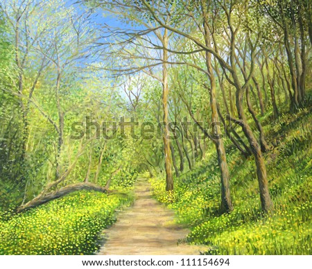 An oil painting on canvas of a seasonal landscape with a vivid green forest in spring time and a footpath surrounded by a carpet of yellow wild flowers in a bright sunny day. - stock photo