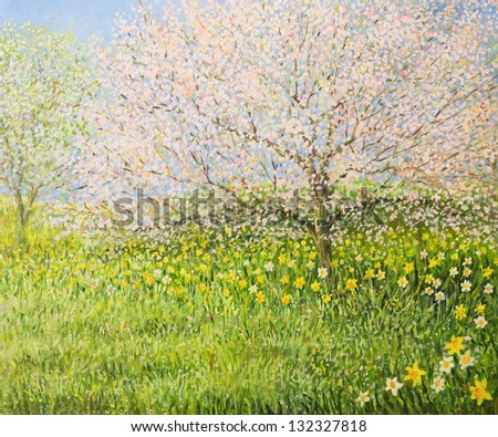 An oil painting on canvas of a springtime natural landscape with blooming trees and colorful meadow full of daffodils.