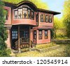 An oil painting on canvas of a traditional old rural house in Koprivshtica, Bulgaria in a bright day during the early autumn. - stock photo