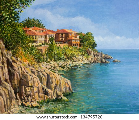 An oil painting on canvas of a tranquil summer day in Sozopol, Bulgaria. With crystal clear calm waters in the bay and the houses of the old town scattered on the cliffs above the sea. - stock photo