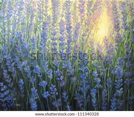 An oil painting on canvas of a violet lavender bush blooming in the last rays of the sun at dusk. Sunset light is giving a warm nuance passing through the blossoms. - stock photo