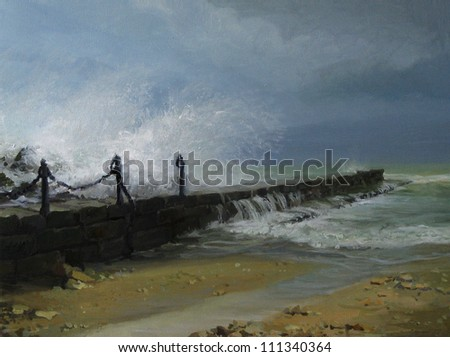 An oil painting on canvas of a winter sea storm in December with huge waves splashing over the pier and thundering sky with overhanging dark clouds. - stock photo