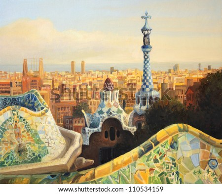 An oil painting on canvas of Barcelona, Park Guell terrace at dusk with a panoramic view of the city lit by the warm light of the setting sun and the ocean at the background.