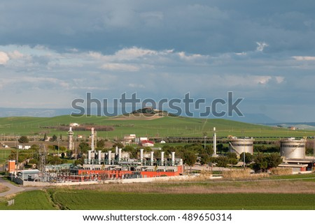 An oil refinery in Termoli, south of Italy.