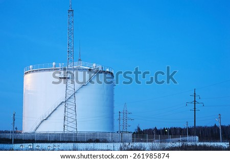 An oil storage at night
