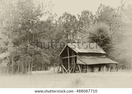 An Old Abandoned Barn in Black and White