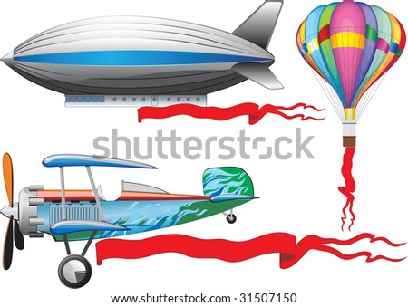 An old airplane, a balloon and airship. raster version - stock photo