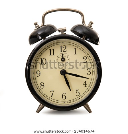 an old alarm clocks on white background