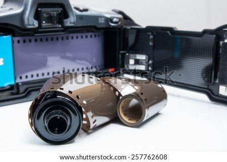 An old analogue reflex camera - stock photo