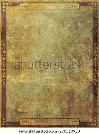 An old and damaged grunge paper cover background design with illustrated border.