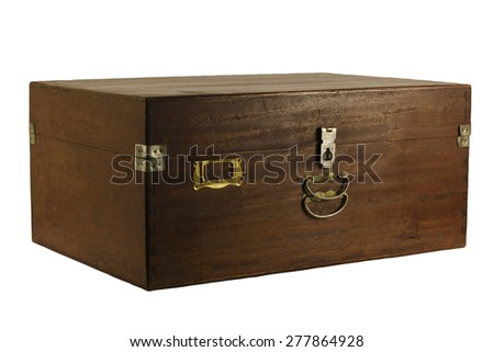 An old antique rustic wooden box  Side. Could be used as a treasure chest. with Clipping Path - stock photo