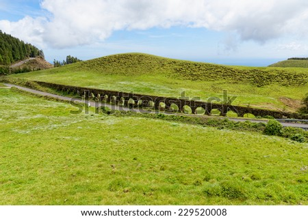 An old aqueduct in Sao Miguel island, Azores, Portugal - stock photo