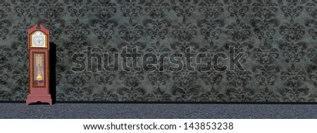 An old big clock in front of dark wallpaper - stock photo