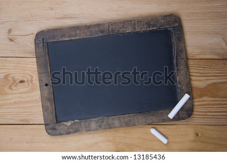 An old blank blackboard and white chalk