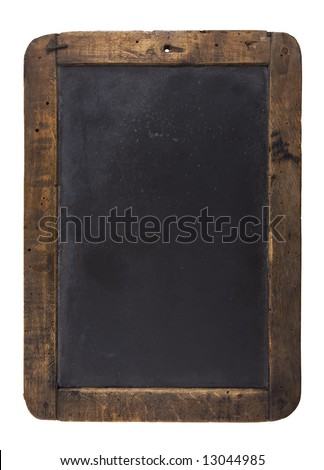 An old blank blackboard isolated on white - stock photo