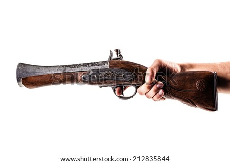 an old blunderbuss isolated over a white background - stock photo