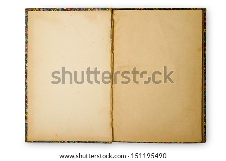 An old book opened to blank pages with white background. - stock photo