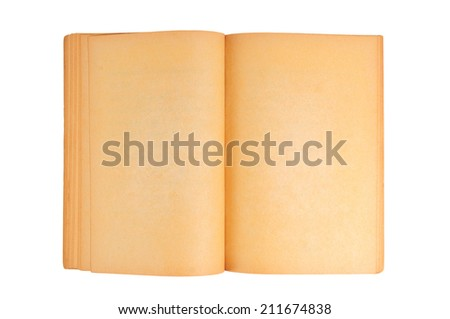 An Old book with Blank Yellow Stained pages for use as Background or any. - stock photo