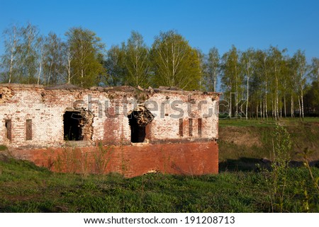 An old brick fort in Bobrujsk in Belarus